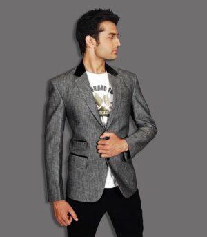 Velvet Patched Slim Fit Modern Grey Designer Blazers