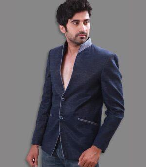 Mandarin Collar Styled Shimmer Jute Midnight Blue Designer Blazers