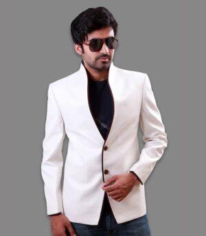 Pure White Linen High Neck Amazing Piping Designer Blazers