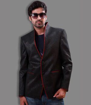 Shimmer Jute Fabric Highlighting The Border Black Designer Blazers